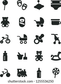 Solid Black Vector Icon Set - dummy vector, feeding bottle, measuring for, diaper, baby stroller, carriage, sitting, roly poly doll, toy sand set, children's potty, teddy bear, small, train, yule