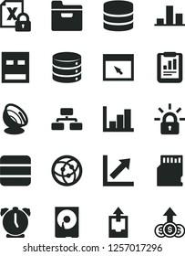 Solid Black Vector Icon Set - growth chart vector, negative histogram, upload archive data, alarm clock, big, flowchart, folder, statistical report, encrypting, hdd, usb, network, browser, sd card