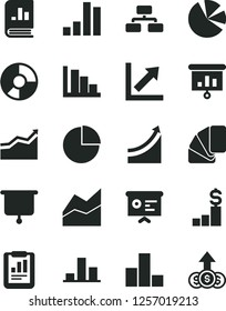 Solid Black Vector Icon Set - pie chart vector, bar, line, growth, positive histogram, sample of colour, flowchart, statistical report, ring diagram, charts, book on statistics, presentation, board