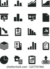 Solid Black Vector Icon Set - clean sheet of paper vector, pie chart, bar, negative, positive histogram, estimate, pile, survey, statistical report, overview, book on statistics, research, financial