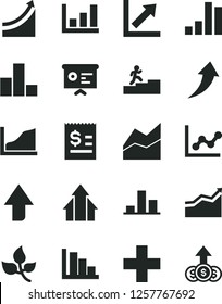 Solid Black Vector Icon Set - upward direction vector, plus, bar chart, line, graph, growth, positive histogram, leaves, article on the dollar, financial report, carrer stairway, arrow, arrows, up