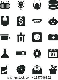 Solid Black Vector Icon Set - daily calendar vector, bib, bag of a paramedic, e, children's potty, funny hairdo, power socket type b, mini hot dog, strawberries, delicious plum, physalis, bulb, pawn