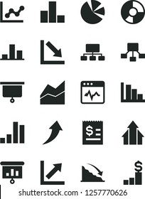 Solid Black Vector Icon Set - bar chart vector, line, graph, growth, negative, positive histogram, cardiogram, recession, scheme, hierarchical, article on the dollar, ring diagram, pie charts, board