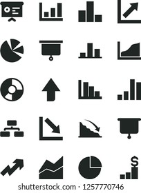 Solid Black Vector Icon Set - upward direction vector, growth up, pie chart, bar, line, negative, positive histogram, flowchart, recession, ring diagram, charts, financial report, graph