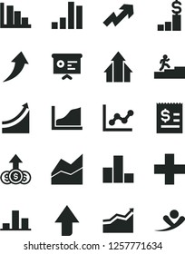 Solid Black Vector Icon Set - upward direction vector, growth up, plus, bar chart, line, graph, positive histogram, article on the dollar, financial report, carrer stairway, arrow, arrows, pedestal