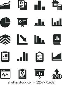 Solid Black Vector Icon Set - pie chart vector, bar, negative, positive histogram, estimate, cardiogram, pile, survey, statistical report, overview, book on statistics, research, presentation, arrow