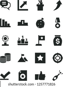 Solid Black Vector Icon Set - growth chart vector, positive histogram, thumb up, coins, pedestal, money, cup, mountain flag, on moon, star, medal, certificate, aim, arrow, vote check, dialog