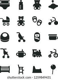 Solid Black Vector Icon Set - baby cot vector, mug for feeding, bottle, diaper, bib, carriage, summer stroller, sitting, roly poly doll, children's potty, chair, a child, teddy bear, small, train