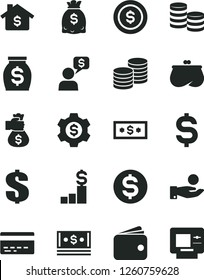 Solid Black Vector Icon Set - bank card vector, dollar, coins, denomination of the, catch a coin, wallet, purse, money, dollars, cash, bag hand, mortgage, pedestal, gear, dialog, atm