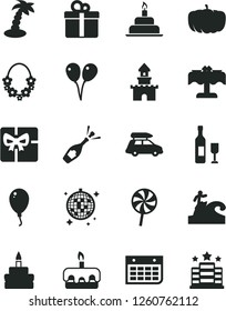Solid Black Vector Icon Set - colored air balloons vector, balloon, birthday cake, gift, torte, lollipop, pumpkin, wall calendar, giftbox, sand castle, wine, champagne, car baggage, palm tree, hotel