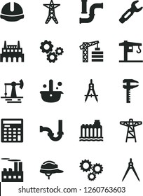 Solid Black Vector Icon Set - crane vector, tower, sewerage, construction helmet, working oil derrick, water pipes, hydroelectricity, power line, pole, industrial building, factory, steel repair key