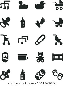 Solid Black Vector Icon Set - baby cot vector, toys over the cradle, dummy, nipple, feeding bottle, measuring for, stroller, carriage, summer, sitting, safety pin, rubber duck, duckling, tumbler