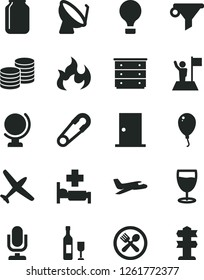Solid Black Vector Icon Set - desktop microphone vector, chest of drawers, safety pin, balloon, ntrance door, globe, coins, glass, satellite dish, jar, water filter, flame, man with flag, wine, air