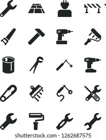 Solid Black Vector Icon Set - paint roller vector, repair key, safety pin, small tools, adjustable wrench, cordless drill, hand saw, spatula, paving slab, road fence, hammer, builder, pipes, welding