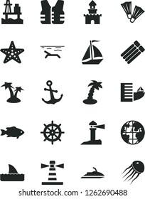 Solid Black Vector Icon Set - anchor vector, fish, sea port, lighthouse, coastal, planet, sand castle, sail boat, hotel, beach, palm tree, starfish, flippers, handwheel, life vest, jet ski