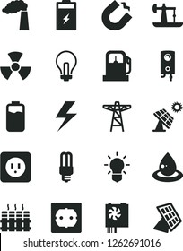 Solid Black Vector Icon Set - lightning vector, incandescent lamp, power socket type b, f, radiator, boiler, charge level, charging battery, big solar panel, oil derrick, gas station, manufacture