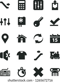 Solid Black Vector Icon Set - house vector, keyboard, renewal, cross, upload archive data, calendar, regulator, no sound, T shirt, location, calculator, pc power supply, settings, stopwatch, train