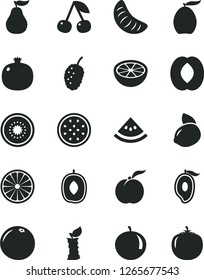 Solid Black Vector Icon Set - cherry vector, ripe peach, pomegranate, tasty mulberry, half of mango, loquat, delicious plum, tangerine, slice, yellow lemon, kiwi, passion fruit, orange, grapefruit