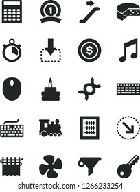 Solid Black Vector Icon Set - keyboard vector, new abacus, music, move down, right bottom arrow, cheese, birthday cake, fan screw, cloth industry, water filter, mouse, dna, calculator, stopwatch