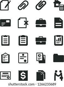 Solid Black Vector Icon Set - clip vector, briefcase, clean paper, scribbled, folder, estimate, pass card, notes, delete page, survey, statistical report, financial item, research, clipboard