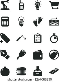 Solid Black Vector Icon Set - stopwatch vector, keyboard, add label, baby bath ball, footprints, put in a box, survey, chicken thigh, pomegranate, bulb, weaving, welding, assembly robot, cart