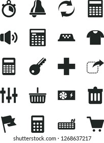 Solid Black Vector Icon Set - bell vector, grocery basket, renewal, plus, dust bin, flag, volume, T shirt, move right, calculator, engineer, keyboard, pc power supply, settings, stopwatch, taxi, key