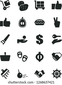 Solid Black Vector Icon Set - cargo trolley vector, dollar, shoes for little children, hand saw, spatula, core, thumb up, shipment, apple pie, half of medlar, loquat, potato, shopping basket, shake