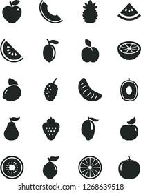 Solid Black Vector Icon Set - strawberry vector, apple, quince, apricot, red, tasty mulberry, slice of melon, water, mango, delicious plum, tangerine, lemon, yellow, half kiwi, orange, grapefruit