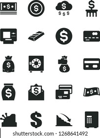 Solid Black Vector Icon Set - dollar vector, strongbox, cards, reverse side of a bank card, front the, recession, money, dollars, cash, cashbox, gold bar, bag hand, rain, coin, column, mail, atm