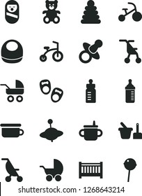 Solid Black Vector Icon Set - baby cot vector, dummy, mug for feeding, bottle, measuring, bib, stroller, carriage, summer, sitting, stacking rings, roly poly doll, toy sand set, children's potty