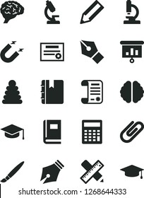 Solid Black Vector Icon Set - tassel vector, calculator, stacking rings, writing accessories, notebook, square academic hat, clip, magnet, pencil, research article, presentation, microscope, brain