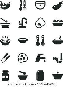 Solid Black Vector Icon Set - deep plate with a spoon vector, plates and spoons, plastic fork, iron, sink, siphon, faucet mixer, kitchen, bowl of rice porridge, in saucepan, lettuce, barbecue, chili