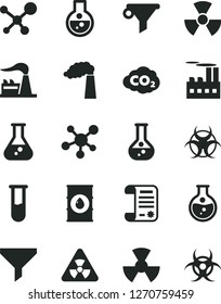 Solid Black Vector Icon Set - round flask vector, manufacture, factory, oil, industrial building, radiation, carbon dyoxide, filter, water, research article, test tube, molecule, nuclear, biohazard