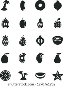 Solid Black Vector Icon Set - a pineapple vector, medlar, half of, mango, loquat, date fruit, passion, kiwi, guawa, piece coconut, slice, ripe guava, part, palm tree, starfish