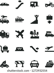 Solid Black Vector Icon Set - traffic signal vector, car, delivery, commercial seaport, eco, winner stairway, limousine, train, baggage, camper, taxi, motorcycle, escalator, plane, getting, transfer
