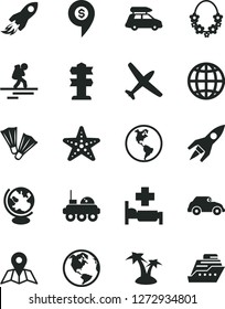 Solid Black Vector Icon Set - map vector, earth, planet, retro car, space rocket, globe, lunar rover, dollar pin, plane, baggage, backpacker, palm tree, hawaii wreath, hospital bed, starfish
