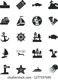 Solid Black Vector Icon Set - anchor vector, small fish, sea port, commercial seaport, coastal lighthouse, planet, sail boat, beach, palm tree, starfish, flippers, surfing, handwheel, jet ski