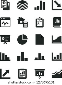 Solid Black Vector Icon Set - clean sheet of paper vector, pie chart, bar, growth, negative, positive histogram, estimate, cardiogram, pile, survey, statistical report, book on statistics, research