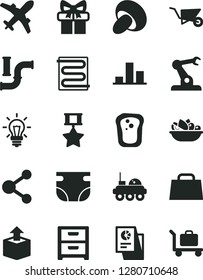 Solid Black Vector Icon Set - nappy vector, building trolley, heating coil, nightstand, unpacking, porcini, a plate of fruit, sandwich, water pipes, assembly robot, connection, chart, light bulb