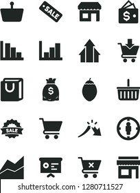Solid Black Vector Icon Set - grocery basket vector, line chart, negative histogram, positive, cart, put in, crossed, bag with handles, tamarillo, kiosk, shopping, goal woman, a crisis, dollars