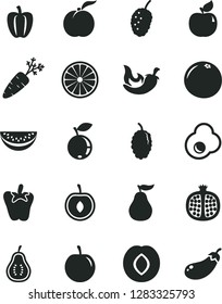 Solid Black Vector Icon Set - chili vector, peper, fried egg, ripe peach, half pomegranate, apricot, plum, blueberry, mulberry, tasty, water melon slice, cherry, of orange, grapefruit, guava, part