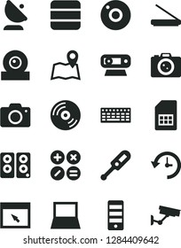 Solid Black Vector Icon Set - camera vector, electronic thermometer e, CD, math actions, satellite antenna, SIM card, notebook pc, keyboard, tower, web, scanner, speaker, browser, big data, history