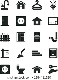 Solid Black Vector Icon Set - house vector, bedside table, dwelling, brick wall, building trowel, window, comfortable toilet, siphon, lay out of flat, power socket type b, f, ntrance door, interroom
