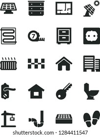 Solid Black Vector Icon Set - bedside table vector, chest of drawers, house, dwelling, long meashuring tape, toilet, siphon, lay out flat, power socket type f, door knob, buildings, ceramic tiles