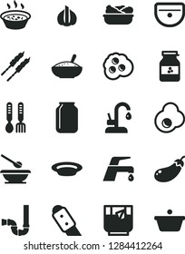 Solid Black Vector Icon Set - plates and spoons vector, iron fork, sink, siphon, knife, faucet mixer, kitchen, a bowl of rice porridge, in saucepan, lettuce plate, barbecue, glass tea, fried egg