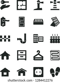 Solid Black Vector Icon Set - dwelling vector, siphon, laying out, power socket type f, door knob, interroom, city block, ceramic tiles, brick, heating coil, radiator, home, nightstand, hanger