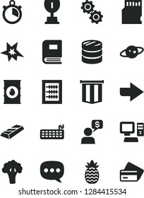 Solid Black Vector Icon Set - right direction vector, new abacus, pineapple, broccoli, oil, column of coins, speech, computer, keyboard, sd card, gears, book, saturn, stopwatch, bang, award, credit