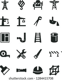 Solid Black Vector Icon Set - hook vector, concrete mixer, window, small tools, adjustable wrench, arm saw, measuring tape, stepladder, siphon, construction level, helmet, putty knife, road fence