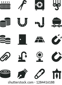 Solid Black Vector Icon Set - clip vector, safety pin, winch hook, adjustable wrench, siphon, ntrance door, paving slab, kitchen faucet, strongbox, coins, canned goods, horseshoe magnet, ink pen