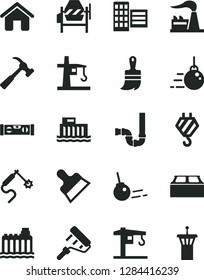Solid Black Vector Icon Set - crane vector, house, hook, big core, concrete mixer, paint roller, wooden brush, siphon, building level, city block, putty knife, hammer with claw, factory, tower